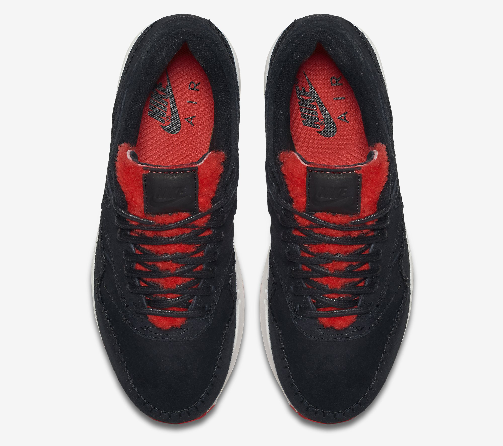 Nike Air Max 1 Sherpa Black Red 454746-010 Top