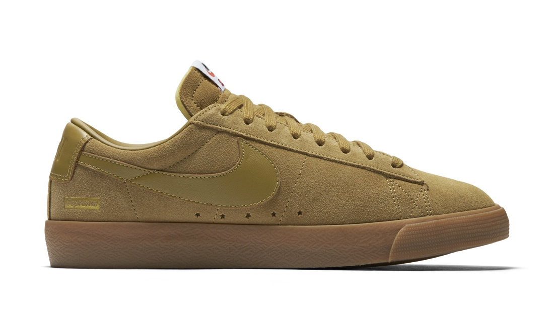 Nike SB Blazer Low GT x Supreme Golden Beige Sole Collector Release Date Roundup