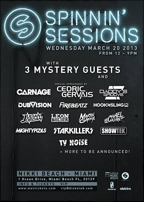 spinnin sessions 2013 flier Spinnin Records Announces First Ever Miami Music Week Showcase