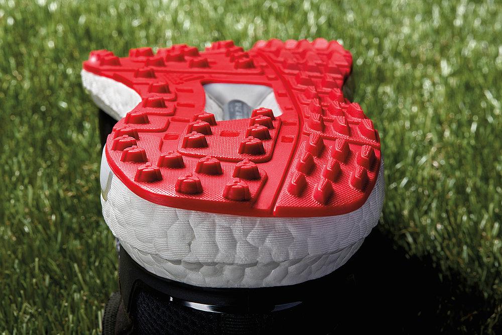Adidas Crossknit Boost Golf Shoe Black Red Sole