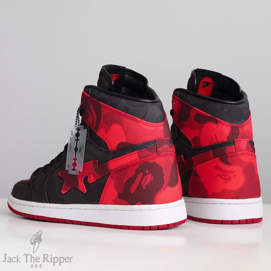BAPE x Air Jordan 1 Banned Custom by Jack the Ripper Heel