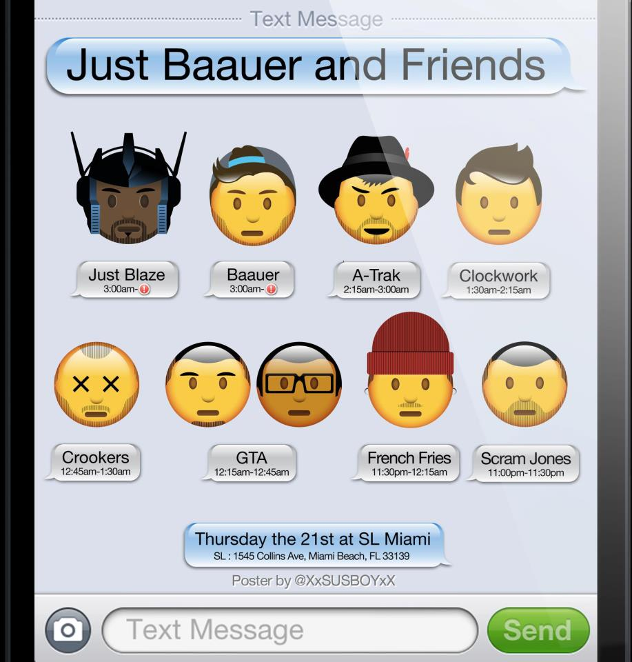 just baauer and friends flier Just Blaze and Baauer Announce Their Just Baauer and Friends Party in Miami
