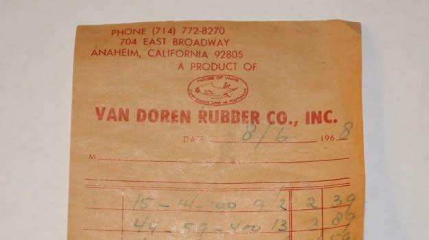 Van Doren Rubber Company Reciept