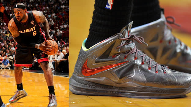 LeBron X Silver Red