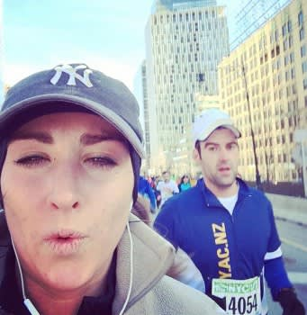 Brooklyn half-marathon selfies