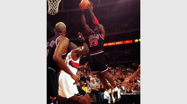 Michael Jordan in the White/Black/True-Red Air Jordan 13