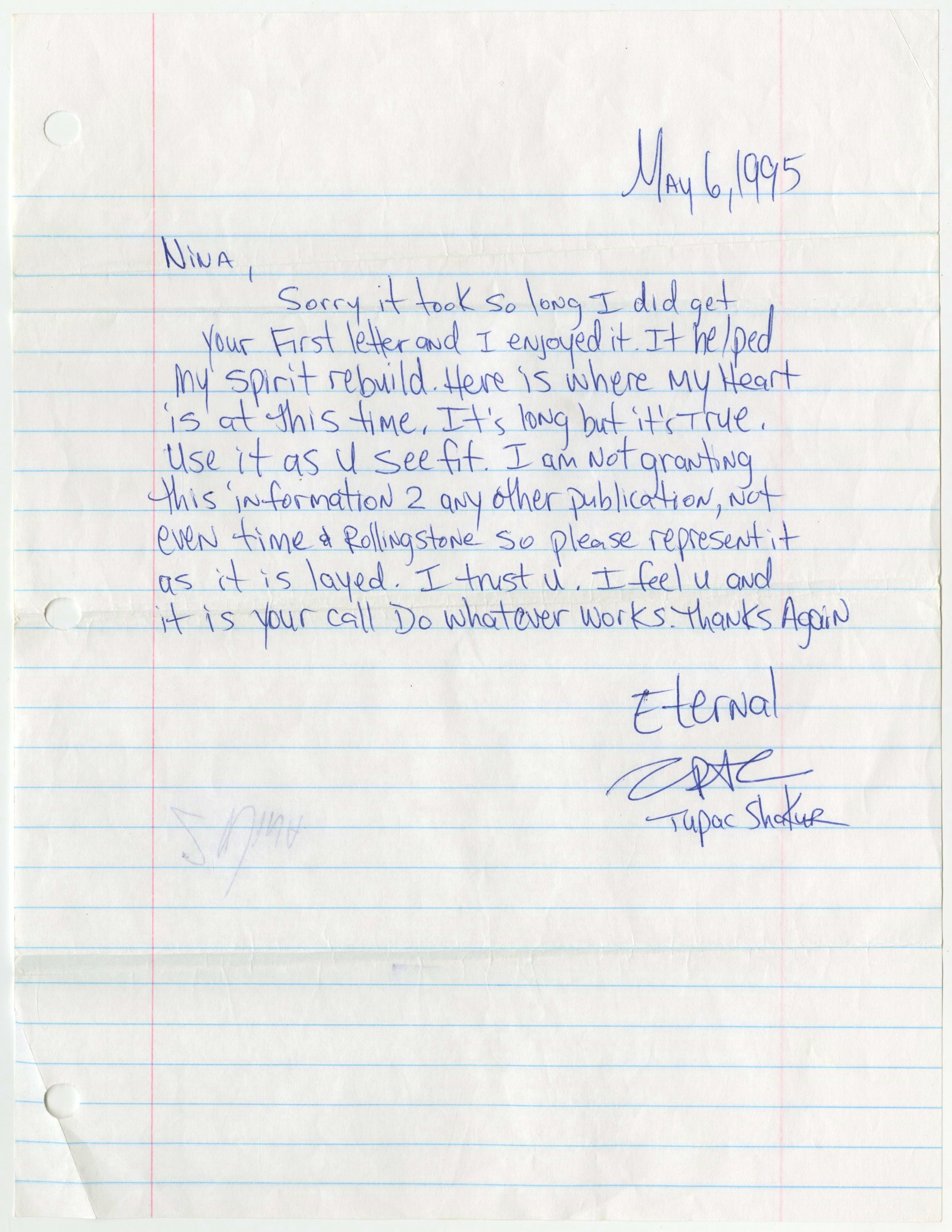 Letter Tupac Shakur Wrote From Prison Sold At Auction For