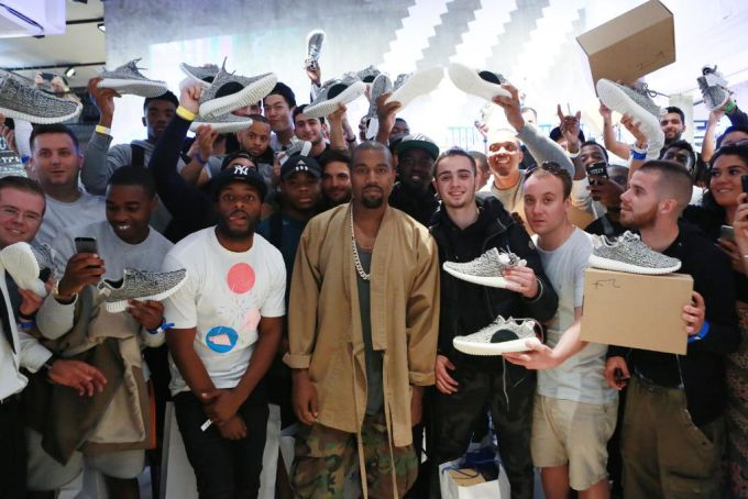 Kanye West Makes Surprise Appearance at adidas Yeezy 350 Boost Launch in London