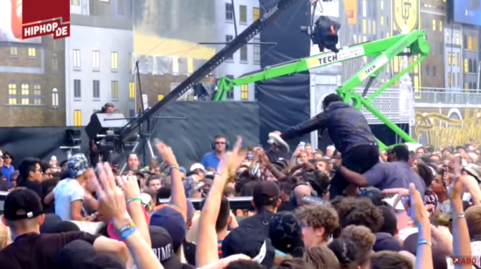 Someone Tried to Steal Travis Scott's Yeezy Boosts While He Was Performing