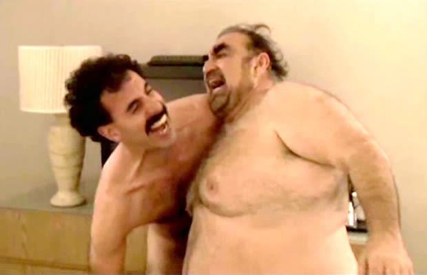 Borat fight naked