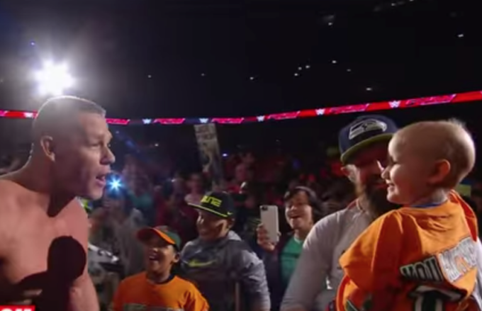 Watch the Crowd Go Wild as John Cena and Sting Meet With a 7-Year-Old Cancer Survivor After Raw