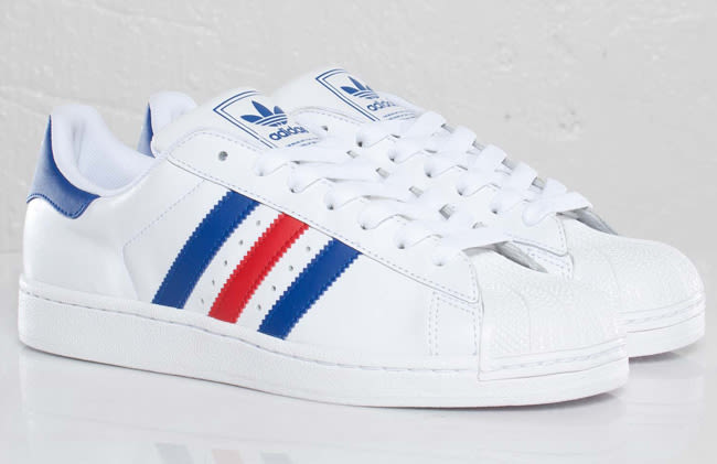 adidas superstar red white blue