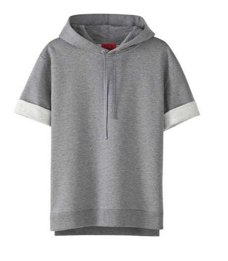 The it item of the day is the heather gray short sleeve hoodie Kanye's been wearing everywhere. Sizes went fast in the SoHo store, and when we got to the
