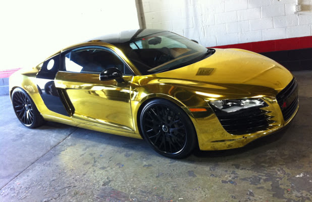 tyga has a shiny one off golden audi r8 complex. Black Bedroom Furniture Sets. Home Design Ideas