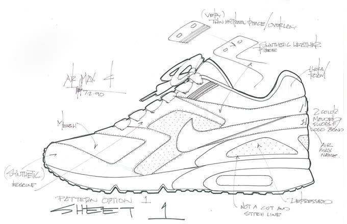 nike air max bw original sketch by tinker hatfield complex