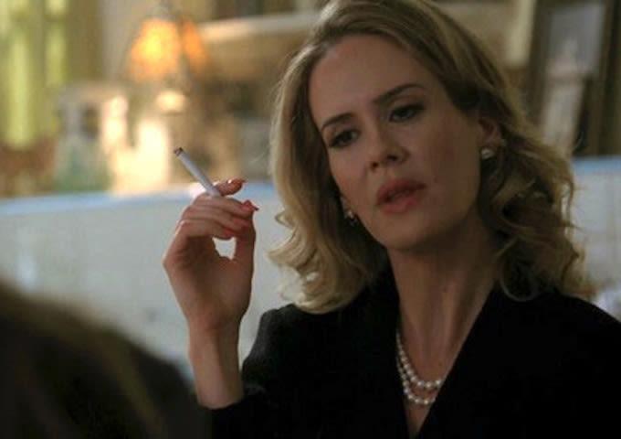 Sarah Paulson smoking a cigarette (or weed)