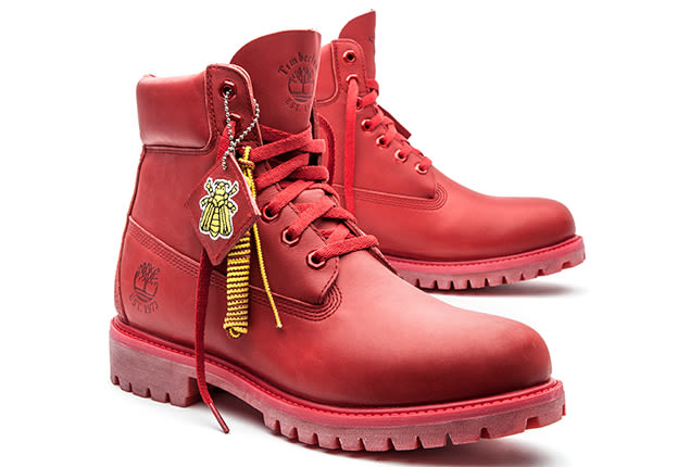 Pharrell and Bee Line's Red Six-Inch Timbs Are Finally ...
