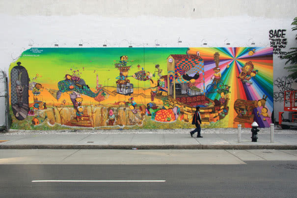 The history of the bowery houston street graffiti mural for Bowery mural nyc
