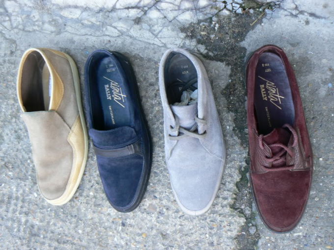 old school suede bally shoes
