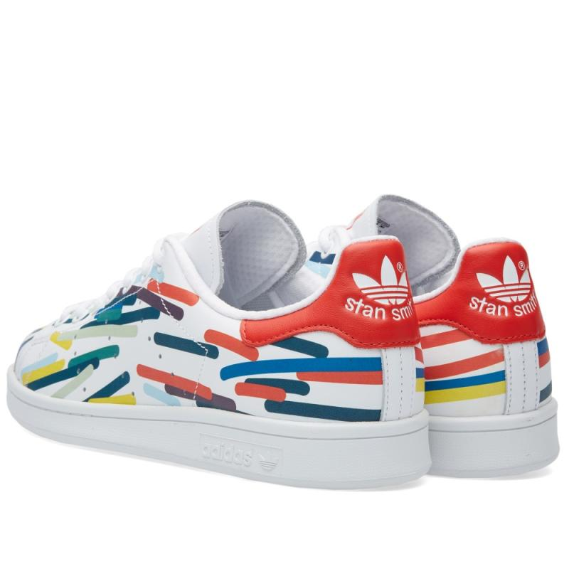 adidas stan smith white red multi