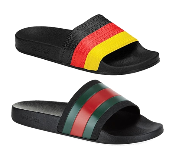 adidas Adilette slide (top) and Gucci's