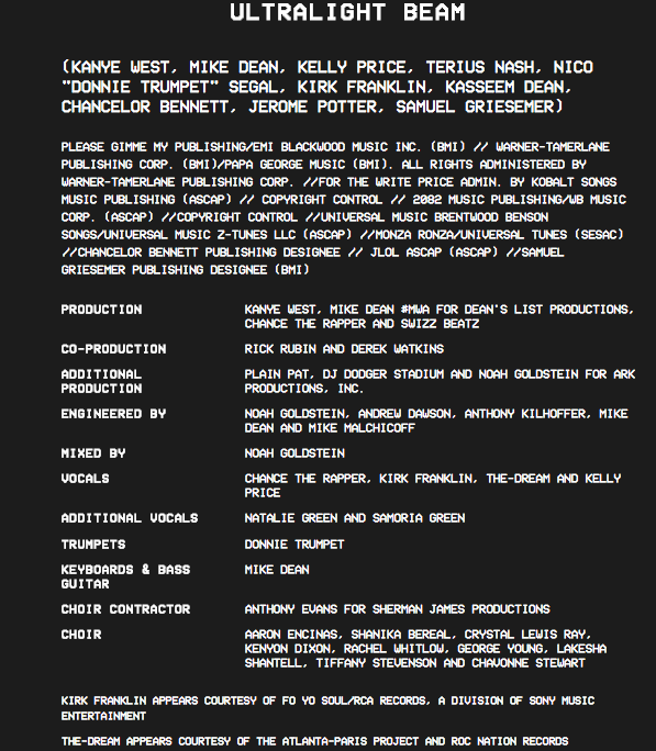 Kanye West Reveals the Full Album Credits for 'The Life of Pablo' news