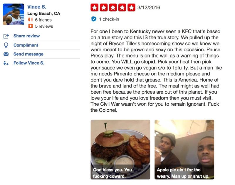 Check Out Vince Staples' Hilarious Yelp Review of a Local Kentucky Chicken Restaurant news