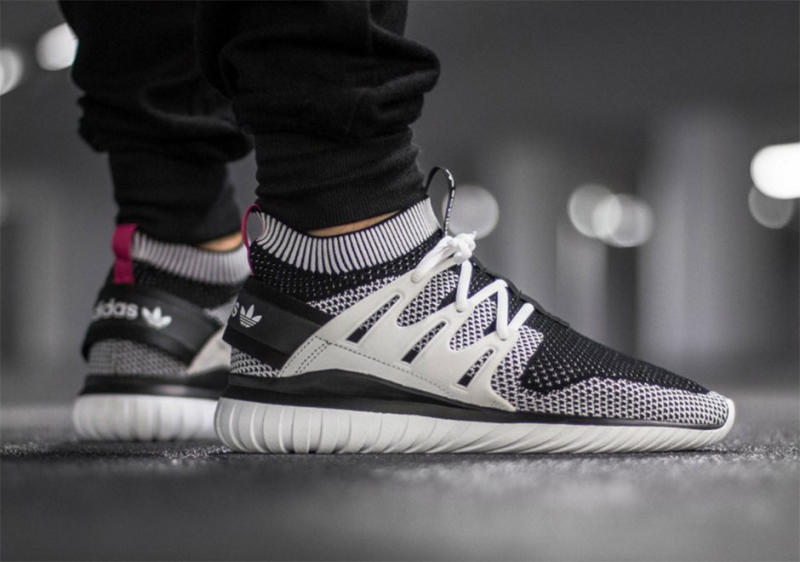 Adidas Tubular Primeknit Black On Feet