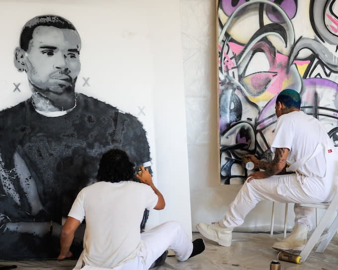 Chris Brown and Street Artist KAI Painted Graffiti This Week