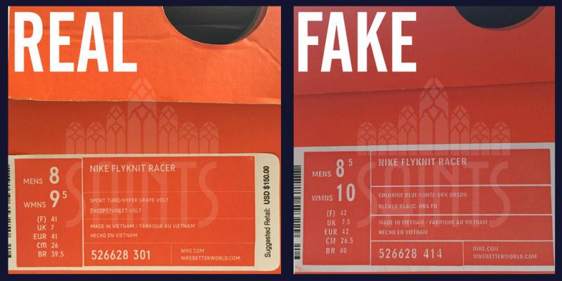 Counterfeit Nike Shoe Label