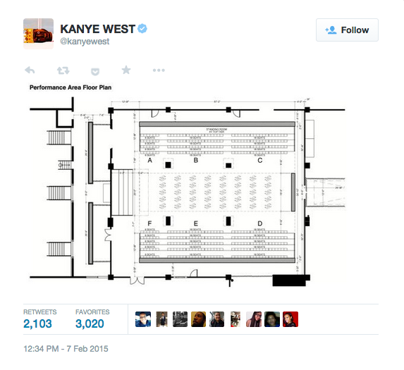 kanye west reveals the floor plan for his upcoming adidas plan 2 runway level jpg hundred meters of fashion