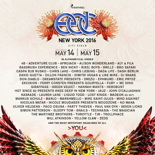 Here's the 2016 Electric Daisy Carnival New York Lineup news