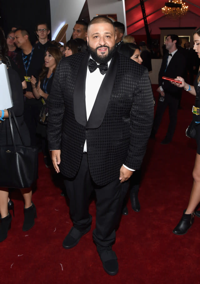 "DJ Khaled Is Wearing ""Triple Black"" Yeezy 750 Boosts on the Grammy's Red Carpet news"