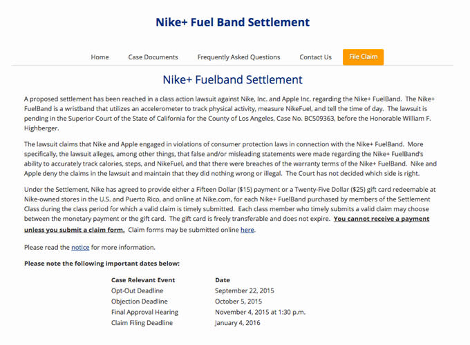 Nike FuelBand Settlement | Complex