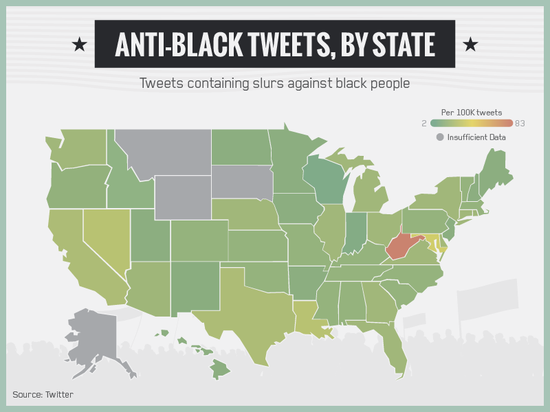 Map shows which states send the most racist sexist and homophobic as slate pointed out just because a slur was used doesnt mean it was necessarily used in a racist way the study could not filter out slurs that gumiabroncs Image collections