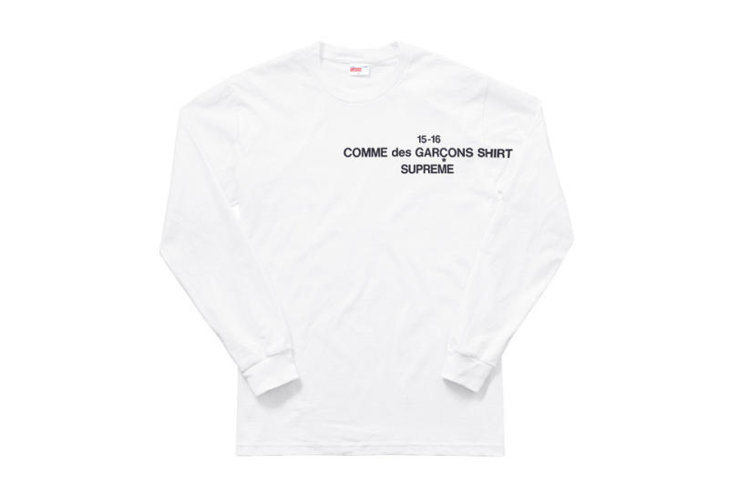 wtb supreme x commes des gar ons long sleeve white tee. Black Bedroom Furniture Sets. Home Design Ideas