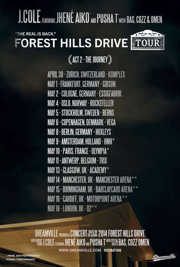 J Cole Announces Forest Hills Drive Tour Complex
