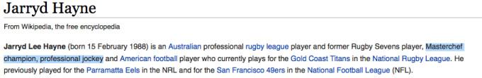 Hayne's wikipedia page has already been vandalised.