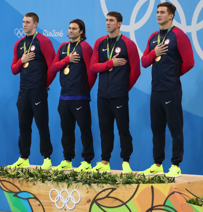 Michael Phelps podium Rio Olympics 2016