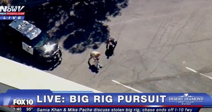 Big rig pursuit ends.