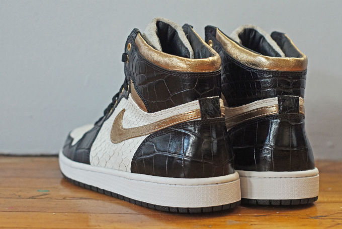 78f6b367be0047 Air Jordan 1 White Python Black Croc Gold Leather by JBF Customs Heel