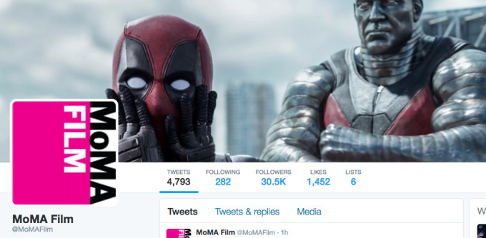 Deadpool MoMA Film Twitter