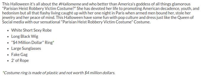 Kim K robbery costume description