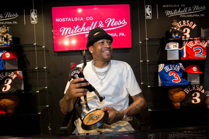 Allen Iverson at the Mitchell & Ness store