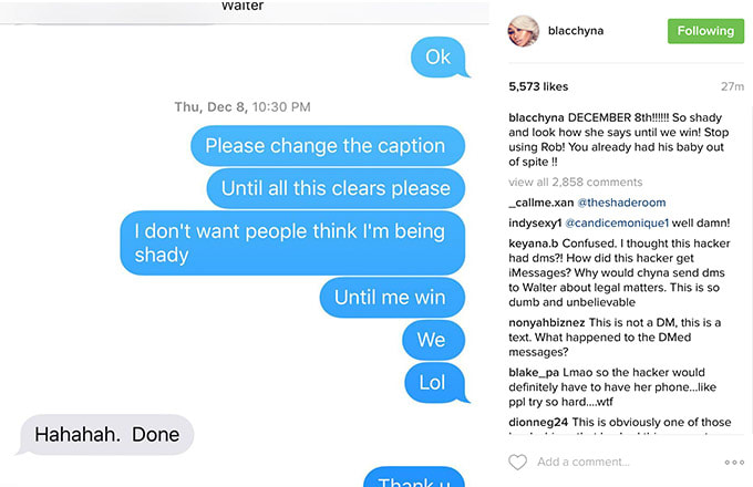 This is a screenshot of Blac Chyna's Instagram.