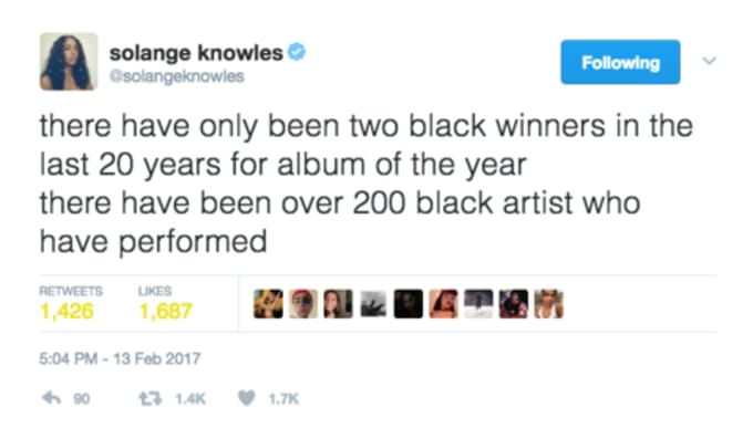 Solange Tweets Frank Ocean's Grammy Diss Following Beyoncé's Grammy Loss
