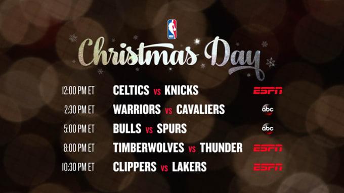 NBA 2016 Christmas Day schedule.