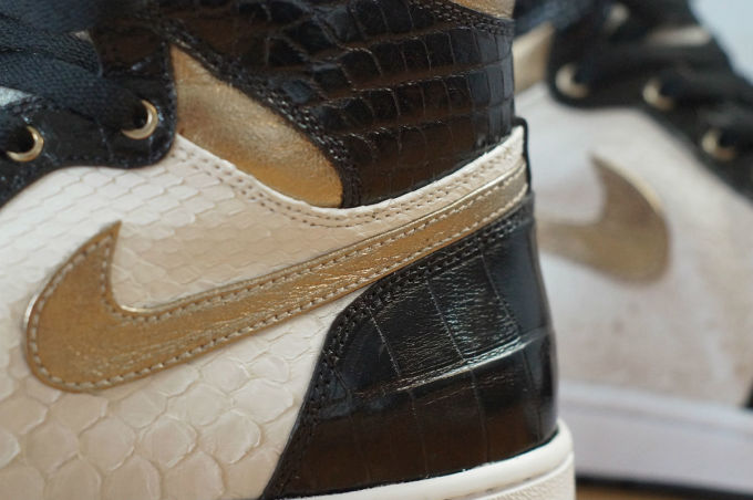 489c99a3578bbf Air Jordan 1 White Python Black Croc Gold Leather by JBF Customs Swoosh