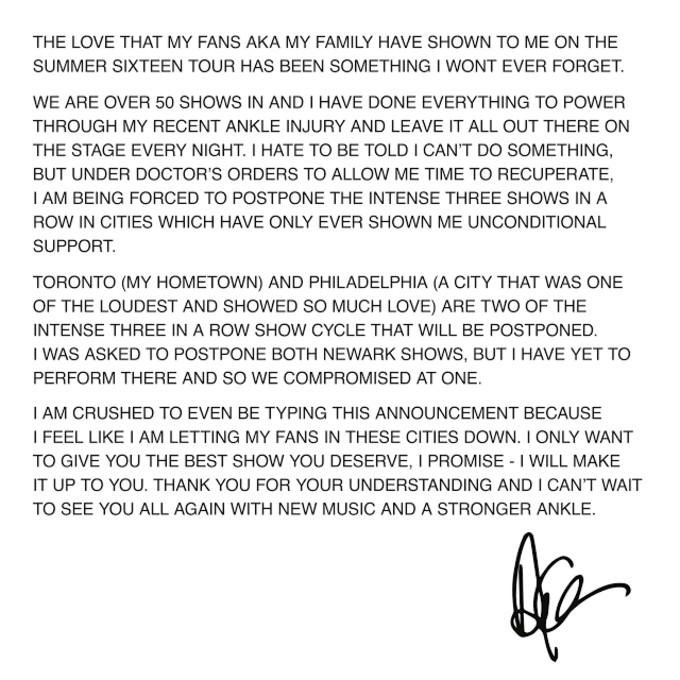 This is Drake's OVO message about postponing Summer Sixteen dates.