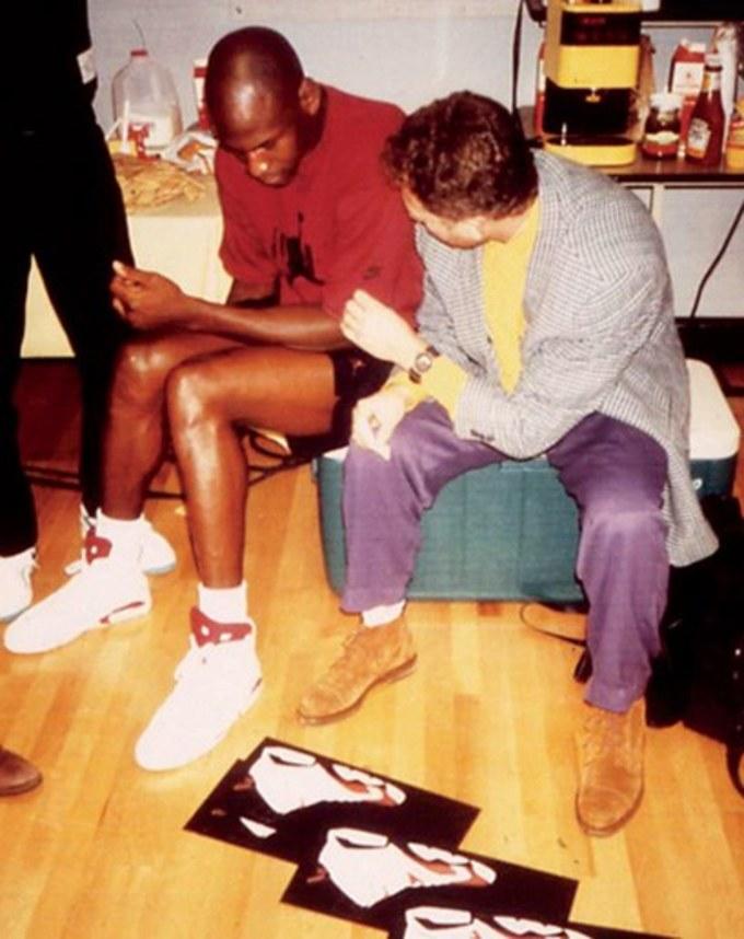 Michael Jordan and Tinker Hatfield Discussing the Air Jordan VI